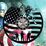 Captain America Art Gift Vinyl Wall Clock Room Modern Home Record Vintage Decoration For Sale