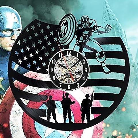 Captain America Art Gift Vinyl Wall Clock Room Modern Home Record Vintage Decoration (Stellen Captain America First Avenger Kostüm)