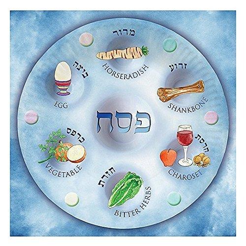 Passover Matzah Plate (Passover Serviettes, Biodegradable Serviettes for Passover for Leil Seder, Design of Seder Plate (Paper Napkins))