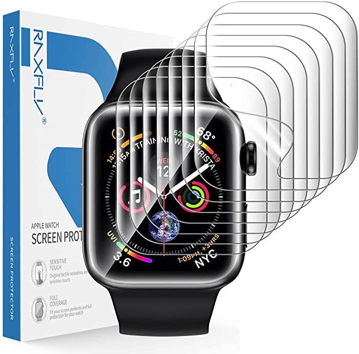 RAXFLY [8 Pack] Screen Protector Compatible with for Apple Watch Series 6/5/4 SE 40mm and Apple Watch Series 3/2/1 38mm HD Full Coverage Screen Protector
