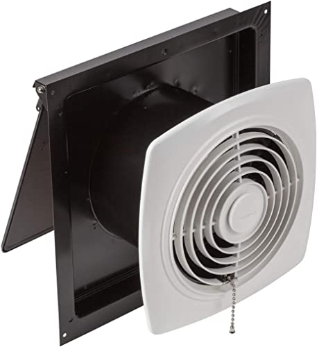 Broan-Nutone 507 Chain-Operated Ventilation Fan, Plastic White Square Exhaust Fan, 7.0 Sones, 250 CFM, 8