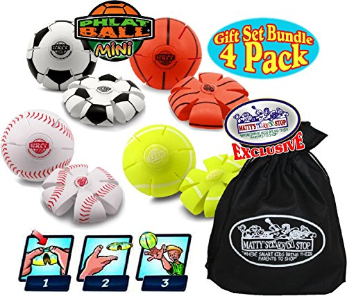 Goliath Phlat Ball Mini Baseball, Soccer, Basketball & Tennis Balls Gift Set Bundle with Bonus Mattys Toy Stop Storage Bag - 4 Pack