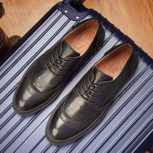 Sculpté Chaussures Retro Hommes Cuir Véritable Cuir Respirant Black Chaussures en Hommes LEDLFIE Décontracté tvxwBZInq