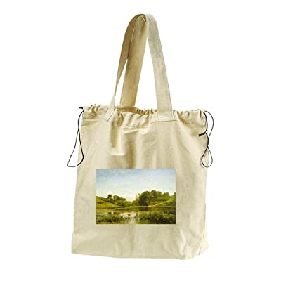 70%OFF Pool At Gylieu (Daubigny) Canvas Drawstring Beach Tote Bag