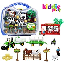 Kiddie Play Farm Toys Set for Kids with Animals Milking Station livestock Transporter and Tractor (25 pieces)