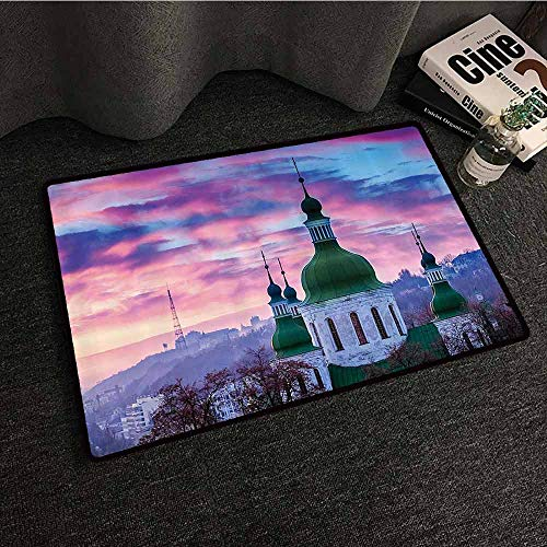Wanderlust Decor Collection Fashion Door mat Sunset and Cloud Over Cityscape Kiev Ukraine Europe Church Cloudy Evening Urban Image Suitable for Outdoor and Indoor use W24 xL35 Green Blue