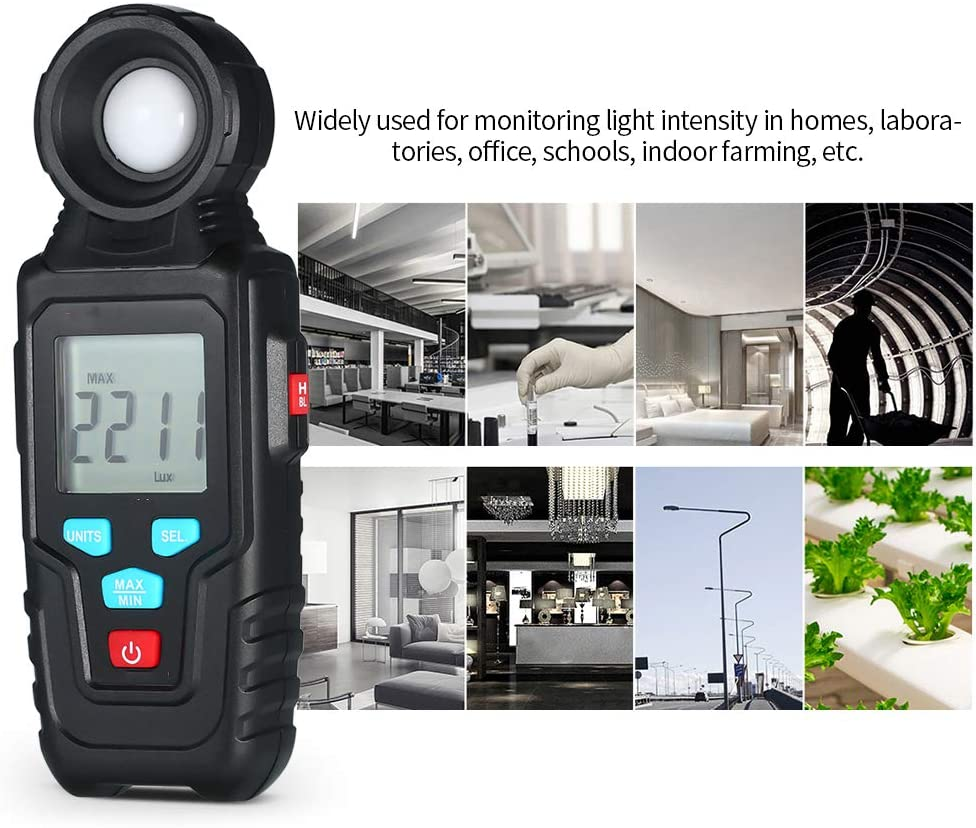 Handheld with LCD Display MAX//MIN Auto Range 0.1~200,000 Lux DJG Mini Digital Illuminance Meter