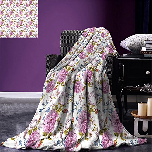 smallbeefly Floral Super Soft Lightweight Blanket Vintage Pastel Spring Scene with Hydrangea Blooms Garden Therapy Showy Birds Image Oversized Travel Throw Cover Blanket Multicolor