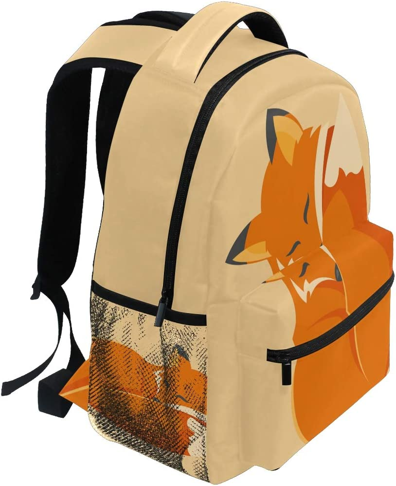JasonGGG Lovely Fox Characters Sleeping Reading Romantic Couple Nature Kids Comic ArrangementTeens School Bookbags Travel Laptop Daypack Bag Lightweight Water Resistant Schoolbag for Boys Girls