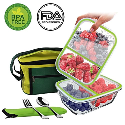 2-Pack-Glass-Meal-Prep-Containers-Reusable-Food-Storage-Containers-with-Insulated-Thermal-Cooler-Bag-BPA-Free-2-Leakproof-Compartments-MicrowaveFreezerOvenDishwasher-Safe