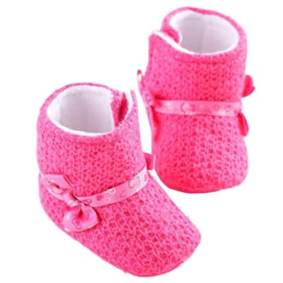 Amiley Baby Girl Knitted Cotton Soft Sole Snow Boots Crib Shoes Toddler Bootie