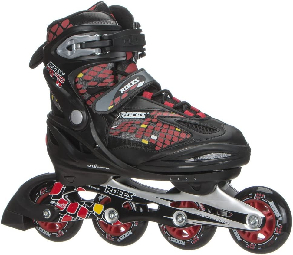 Roces 400792 Men s Model Moody 4.0 Adjustable Inline Skate, US 4-7, Black Astro Blue Red