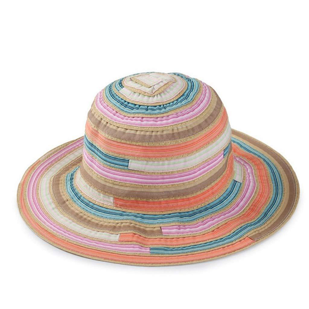 Pollyhb Women Striped Print Foldable Fisherman Hat Outdoors Sunscreen Cap Orange