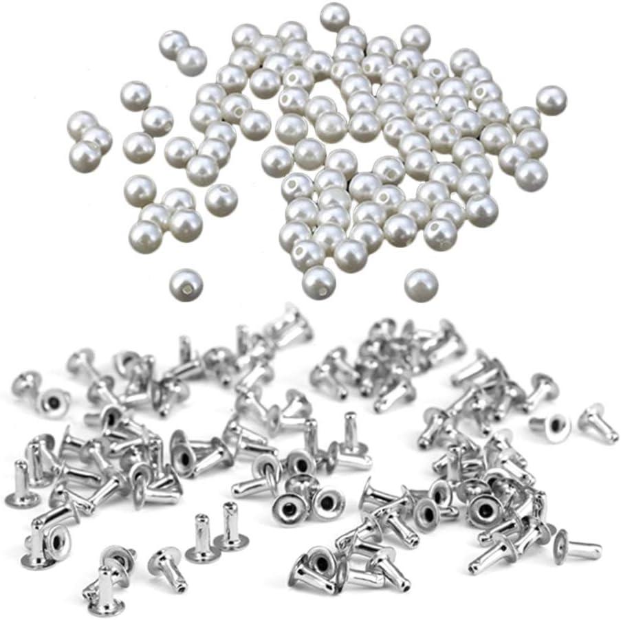 HEALLILY 100 Piezas de Perlas de Remache Perlas de Imitación Remaches Tachuelas Botones para Manualidades Jeans Bolsos Ropa Decoración (6 Mm)