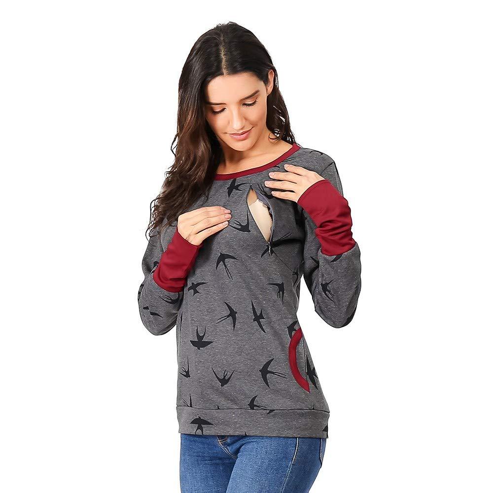Italily Donna maternità Felpa con Cappuccio Autunno Inverno Sweatershirt O Collo L'Allattamento Stampato Saltatore Casuale Cime Elegante Casual Manica Lunga Camicetta Felpa
