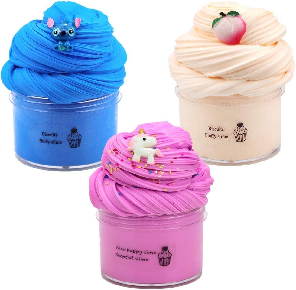 3pcs Fluffy Slime Kit,Butter Slime,Slime Fluffy,Slime Azul Snoopy/Slime melocotón Albaricoque/Slime Rosa Unicornio,Stress Relief DIY Juguetes para niños Adultos...