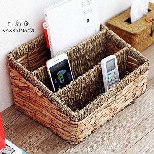 Magazine Holders, Desktop Storage Basket Straw Woven Newspaper File Rack Box Information Shelves Home Storage and Organization Office Supplies ()