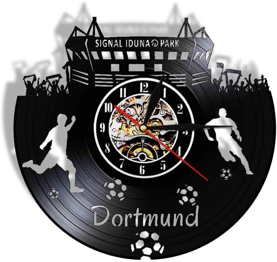 WADCRmgyx Copa Mundial de Fútbol Dortmund Paisaje Urbano Reloj de Registro de Vinilo Reloj de Pared silencioso Estadio Ventilador Reloj Regalo de Viaje