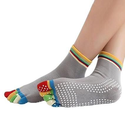Calcetines de algodón con talón antideslizante para yoga, de Aquiver