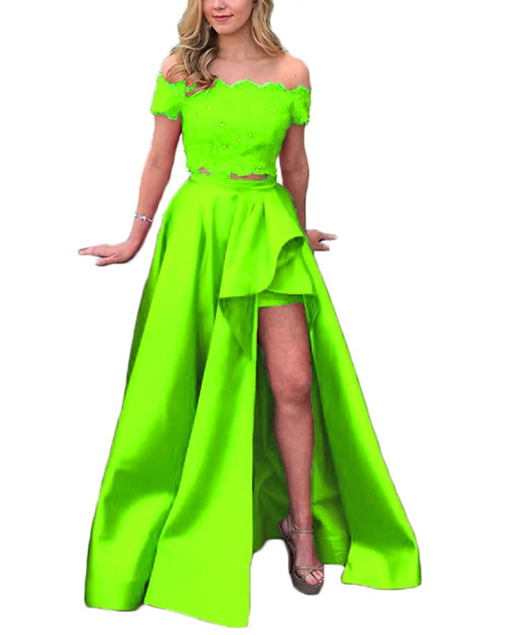 Bud Green alilith.Z Sexy Off Shoulder 2 Piece Prom Dresses High Low Beaded Lace Formal Evening Party Dresses Women Long