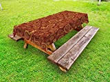 Lunarable Paisley Outdoor Tablecloth, Earthly Tones in Traditional Iranian Paisley Motif Dotted and Floral Designs, Decorative Washable Picnic Table Cloth, 58 X 120 inches, Burgundy Mustard