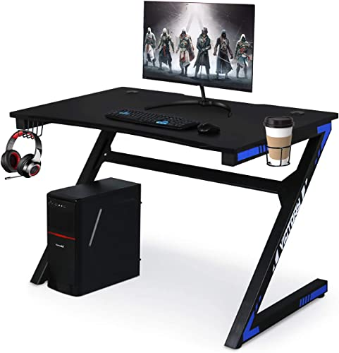 Computer Desk Gaming Table Z Shaped Gamer Workstaton with Large Ergonomic Surface and Heavy Duty Construction for Home Office