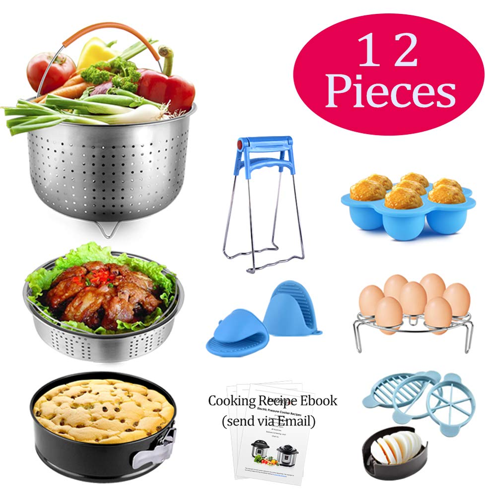 Pressure Cooker Accessories Fits for Instant Pot 6 QT & 8 QT, QUERLY 12 PCS Insta Pot Accessory with Steamer Basket, Nonstick Springform Pan, Egg Rack, Silicone Egg Bites Mold, Egg Cutter and so on