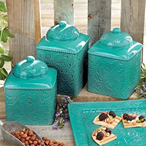 Savannah turquoise canister set home kitchen for Savannah bathroom accessories