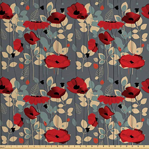 Floral Upholstery - Ambesonne Poppy Fabric by The Yard, Abstraction of a Growing Floral Garden Leaves Botanical Modern Nature Display, Decorative Fabric for Upholstery and Home Accents, 1 Yard, Grey Red Beige