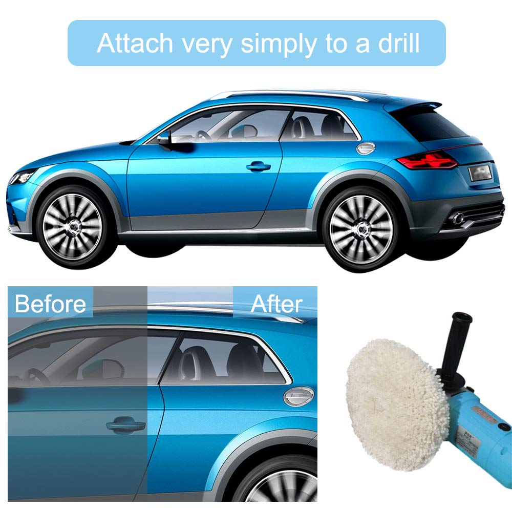Hook and Loop Buffing Wheel for Drill /& Buffer for Drill Car Buffing Drill Buffer Attachment Buffing /& Polishing Pads 7 Inch Drill Polishing Pad 2 pack Wool Polishing Pad Polishing Wheel for Drill