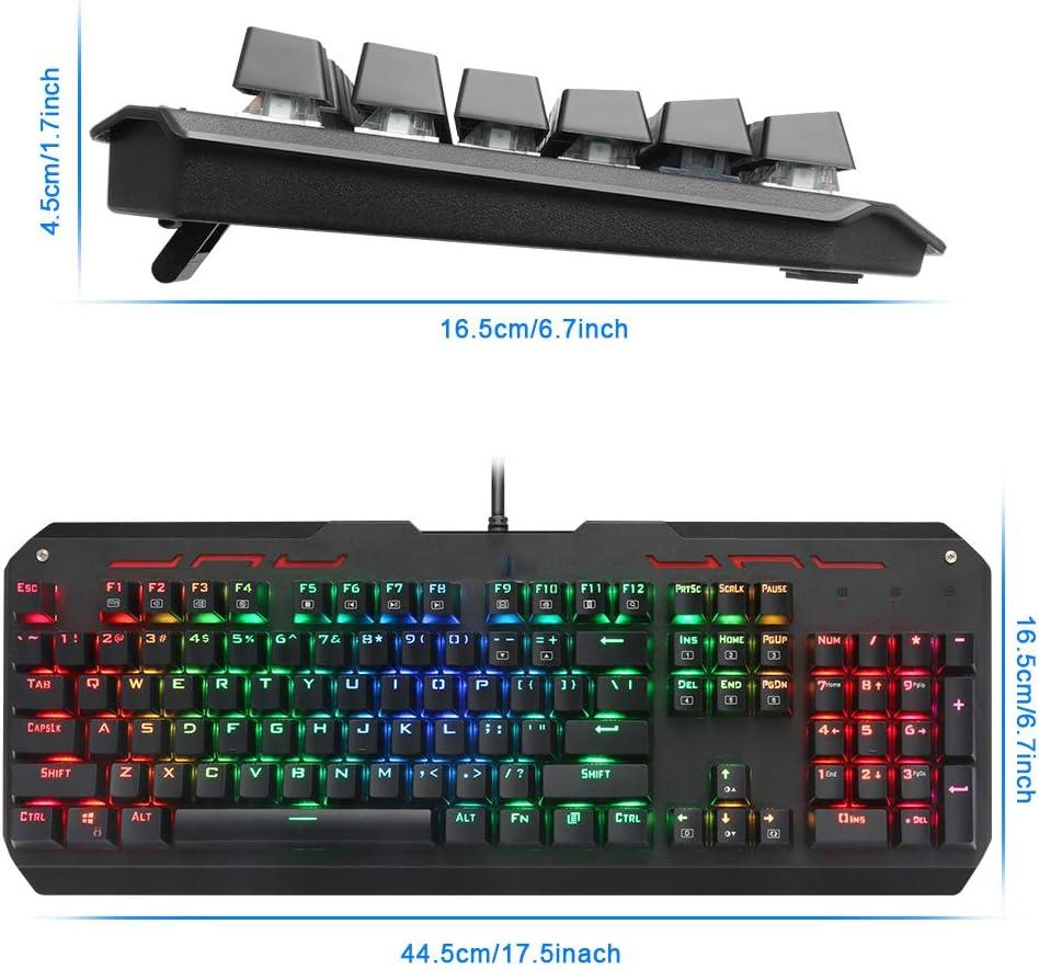 BHGFCGYUH USB Mechanical Gaming Keyboard Blue Switch Ergonomic Led Backlit 104 Keys Anti-Ghosting Wired Computer Gamer