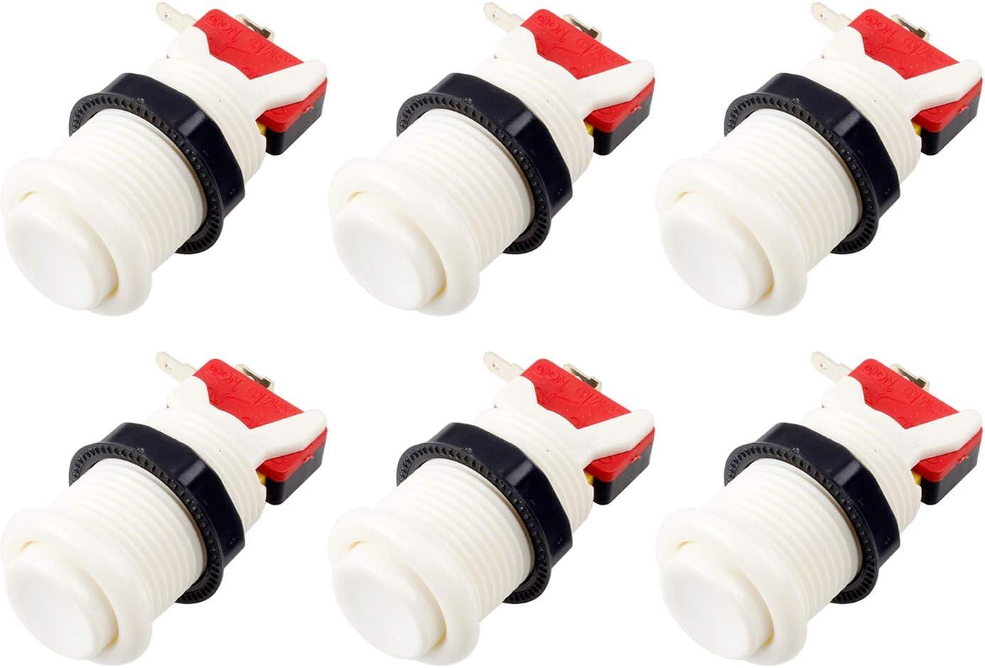 EG STARTS 6X Americano Estilo Estándar Botones Arcade Switches conmutables Tipo Happ de 30mm Terminales de 187