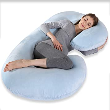 Full Body Pregnancy Pillow.Cepheus Pregnancy Body Pillows With Velvet Cover C Shaped Full Body Maternity Pregnant Pillows For Pregnant Women Sleeping Blue