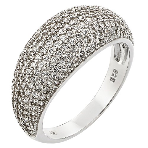 Pave Set Dome Ring (Rhodium Plated Sterling Silver Round Pave Set CZ Dome Ring - Size 8)