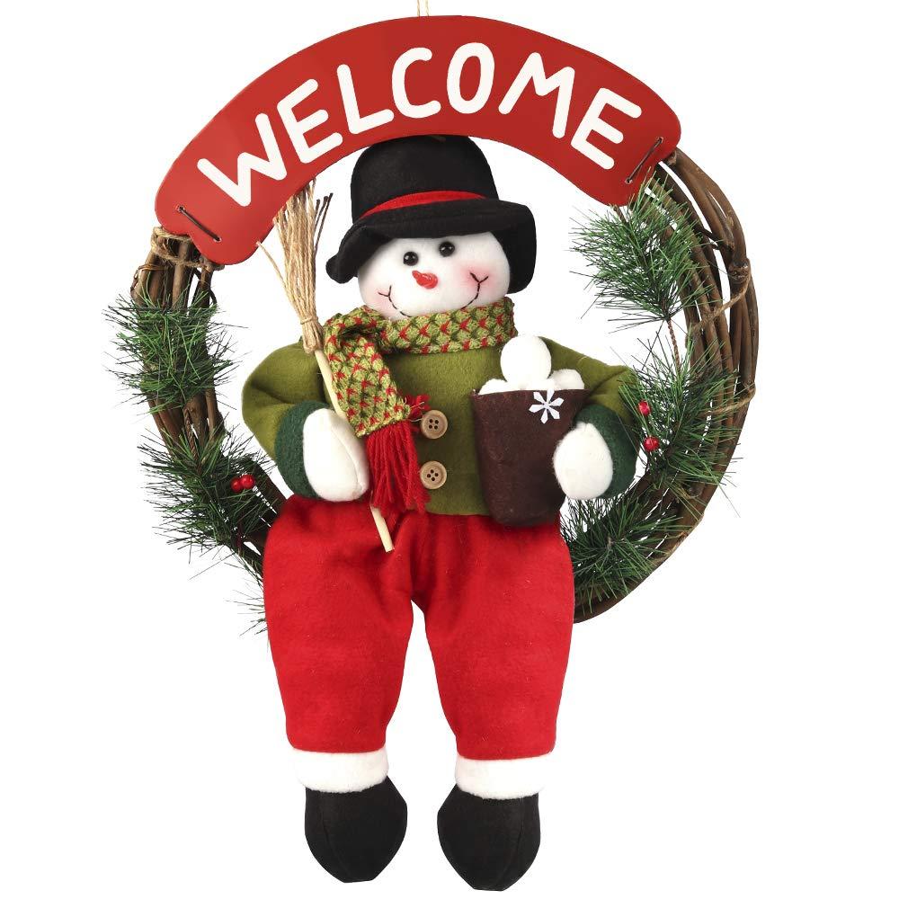 Traditional Series Christmas Snowman Wreath Dried Grapevine Wreath Door Wall Wreath D-FantiX AM-HG196