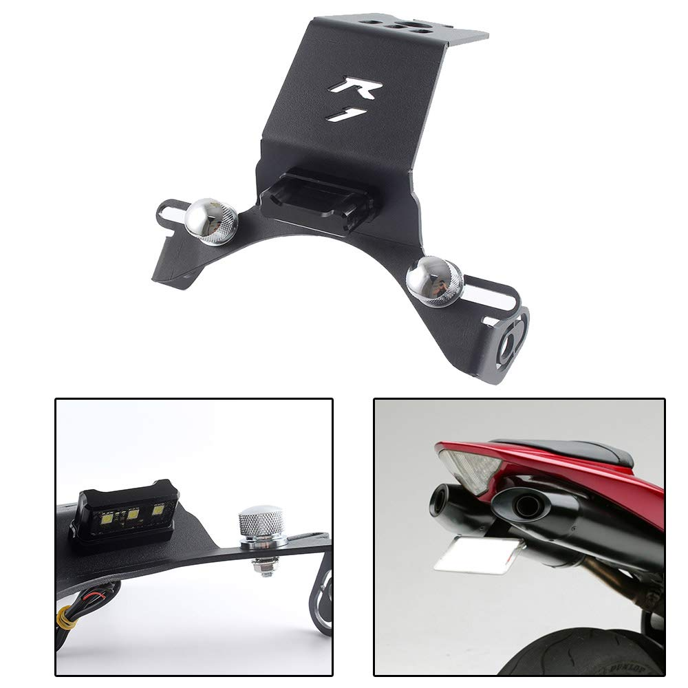 FATExpress Motorcycle CNC Aluminum License Plate Holder Bracket Fender Eliminator with LED Light for 2004-2014 Yamaha YZF-R1 YZF R1 2005 2006 2007 2008 2009 2010 2011 2012 2013 04-14