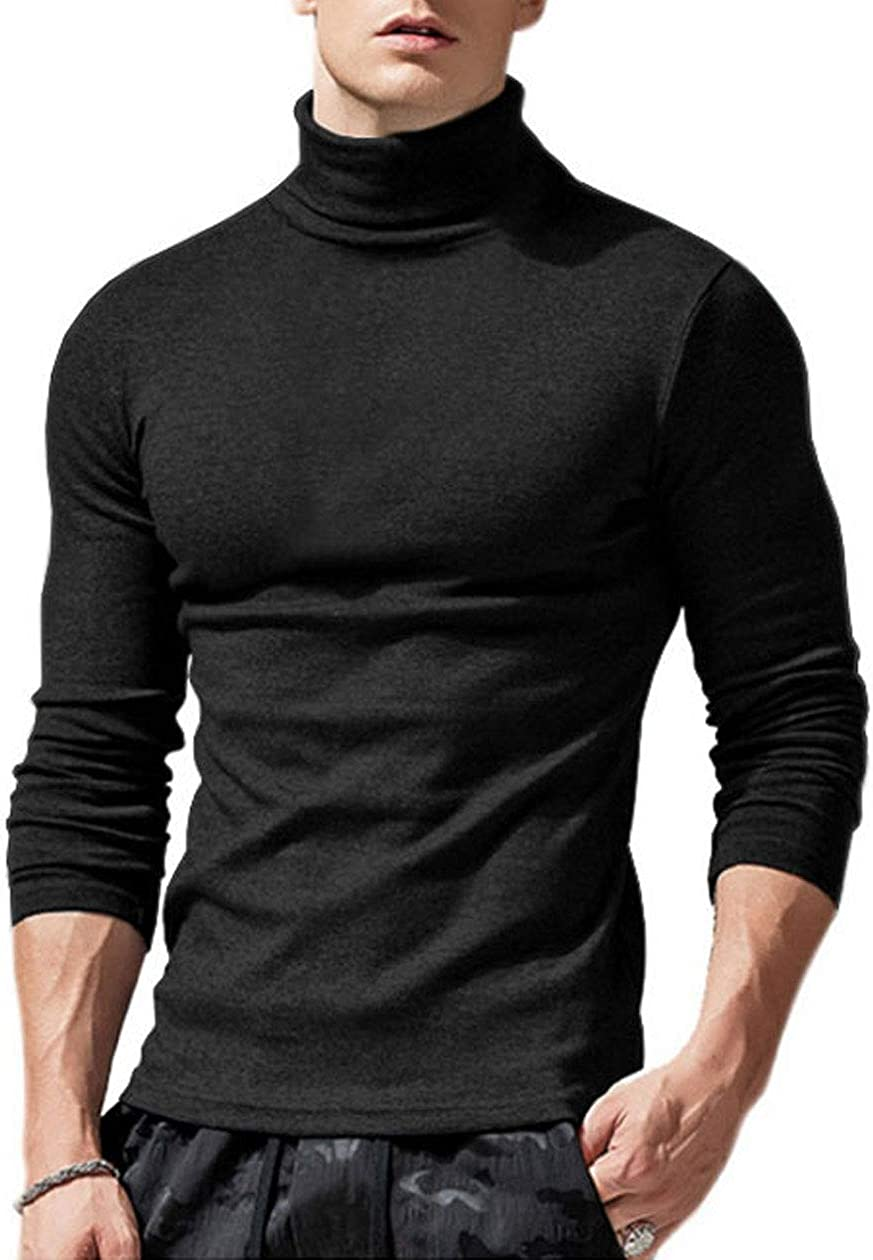 BT/_ Mens Long Sleeves Acrylic Turtle Neck Turtleneck Sweater Stretch Jumpers Top
