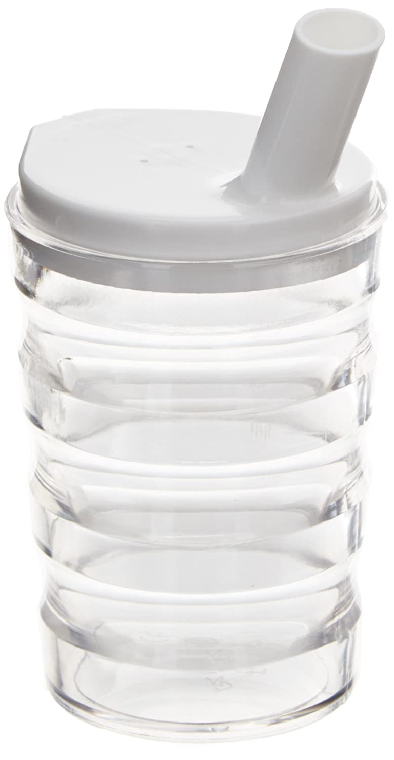 Sammons Preston 1265 Long Spout Feeding Cup 8 oz Ergonomic Grooves Allow Good Grip to Limit Slipping Clear Polycarbonate Ribbed Mug with Spillproof Lid