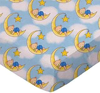 product image for SheetWorld Fitted 100% Cotton Flannel Bassinet Sheet 15 x 33, Sleepy Bears Blue, Made in USA