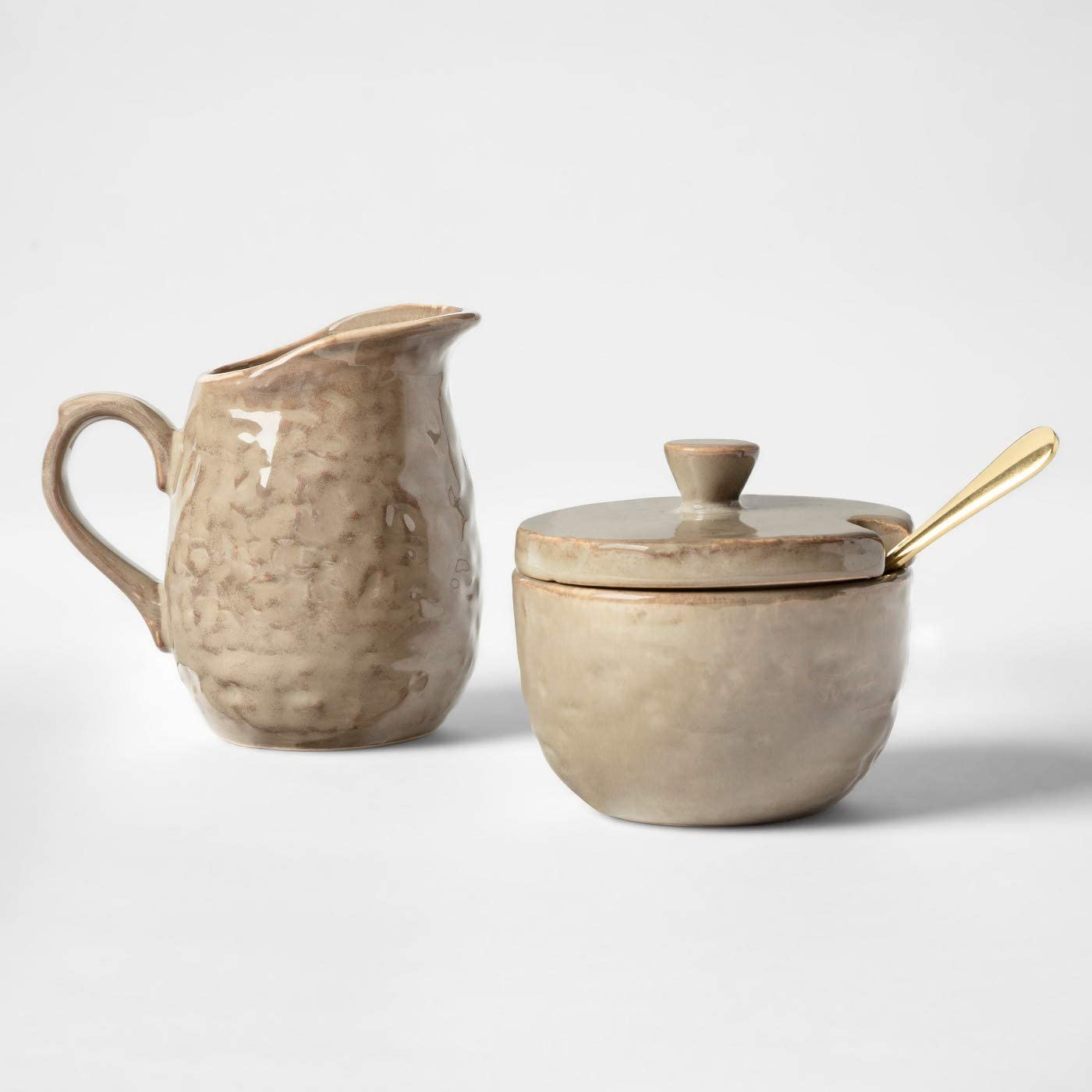 Stoneware Coffee Creamer and Sugar Bowl with Metal Spoon Bundle   Cravings by Chrissy Teigen Kitchenware
