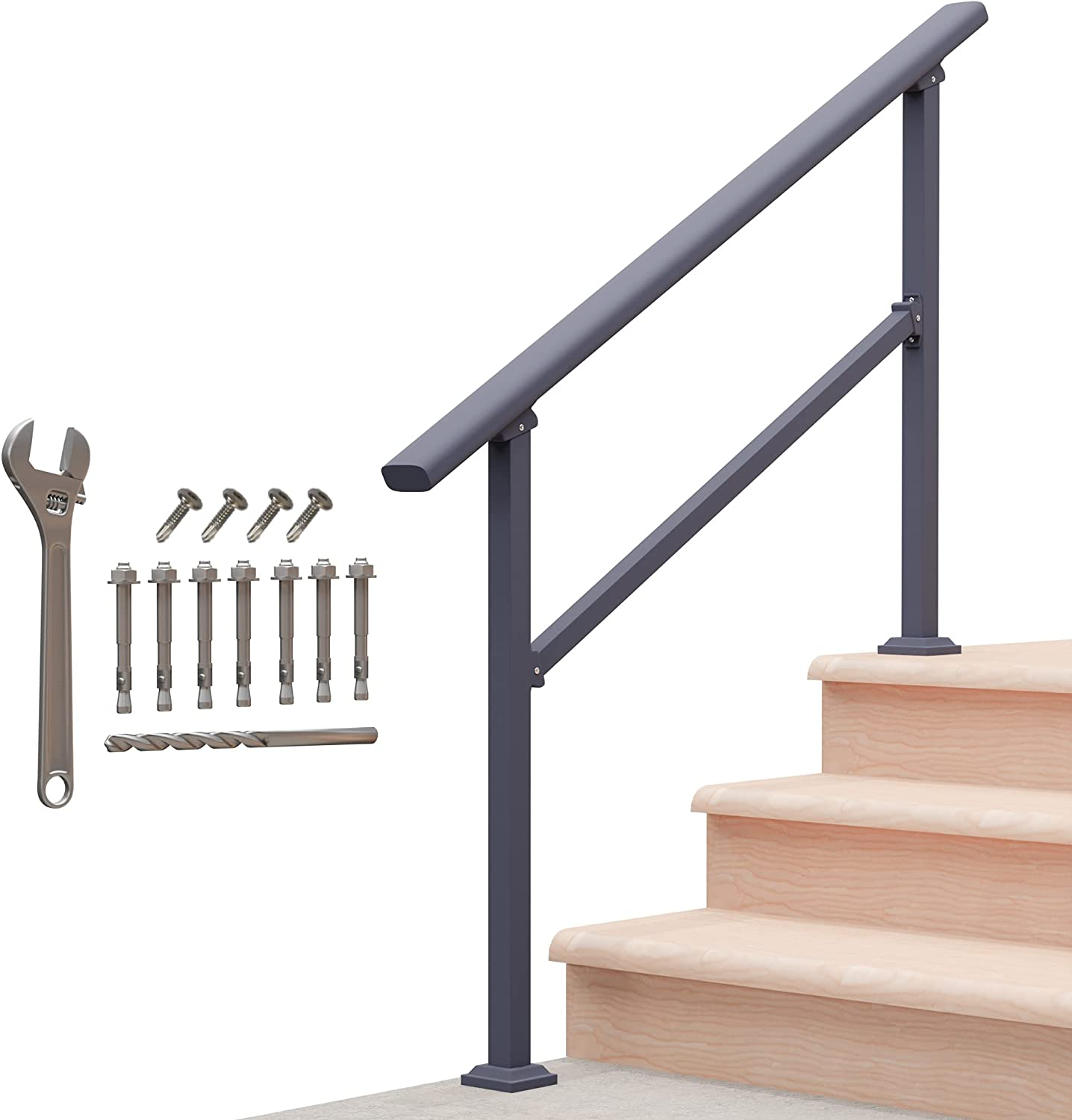Outdoor Hand Rails for Steps, Black Wrought Iron Handrail (3 Step)