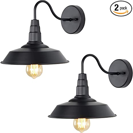 Lnc Black Matte Wall Sconces 2 Pack Barn Vanity Lights Gooseneck Lamp For Pathway Bathrooms And Living Room A0224109 Amazon Com
