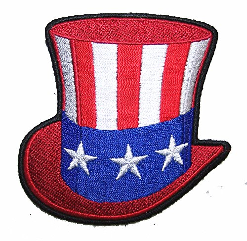 Uncle SAM American Flag Hat Novelty Embroidered Biker Jacket Patch - Iron on Backing or Sew On (Biker Jacket Uncle Sam)