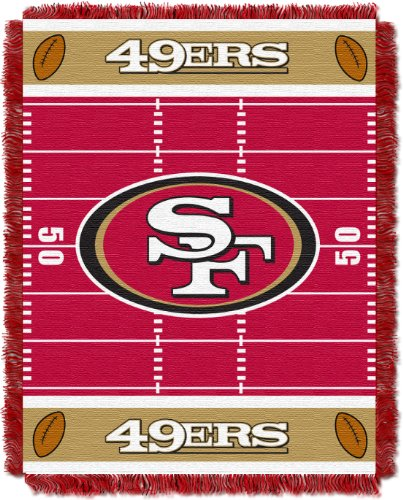 The Northwest Company Officially Licensed NFL San Francisco 49ers Field Bear Woven Jacquard Baby Throw Blanket, 36