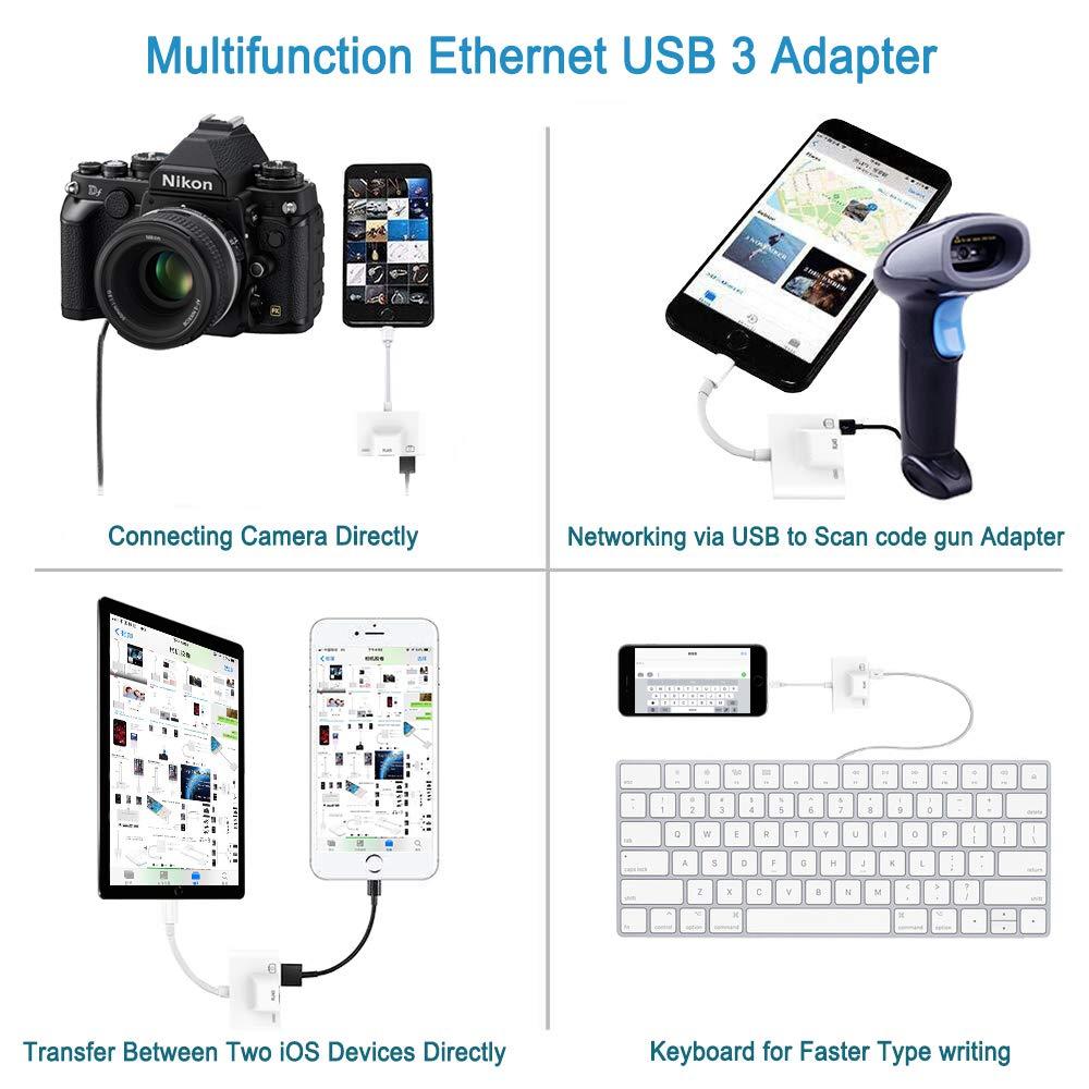 5d0c0f93e4a RJ45 Adaptador de Red LAN Adaptador Ethernet con Cable Compacto para Phone  / Pad Todas las series con Ethernet Adaptador USB 3 - Viaje al Extranjero:  ...