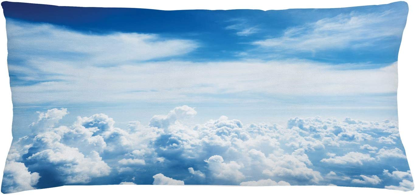 Amazon Com Lunarable Landscape Throw Pillow Cushion Cover Cloudy Summer Day Sky And Morning Sun Dreamy View Picture From Above The Clouds Decorative Rectangle Accent Pillow Case 36 X 16 Blue White Home