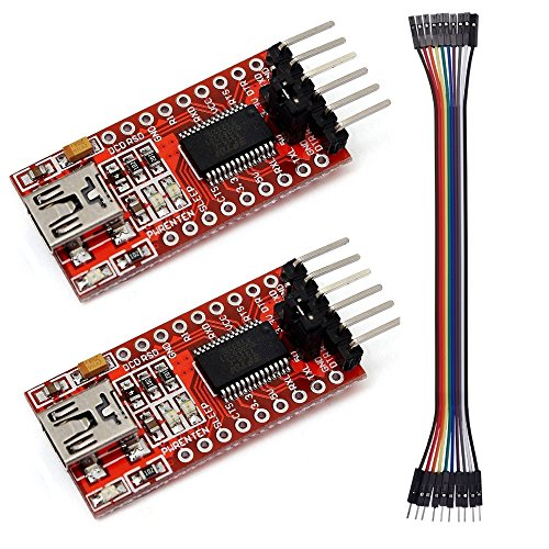 SMARTHING 2PCS FT232RL 3.3V 5V USB To TTL Converter Serial Adapter Module for Arduino Mini Port(Dupont Cable (Usb Virtual Serial Port)