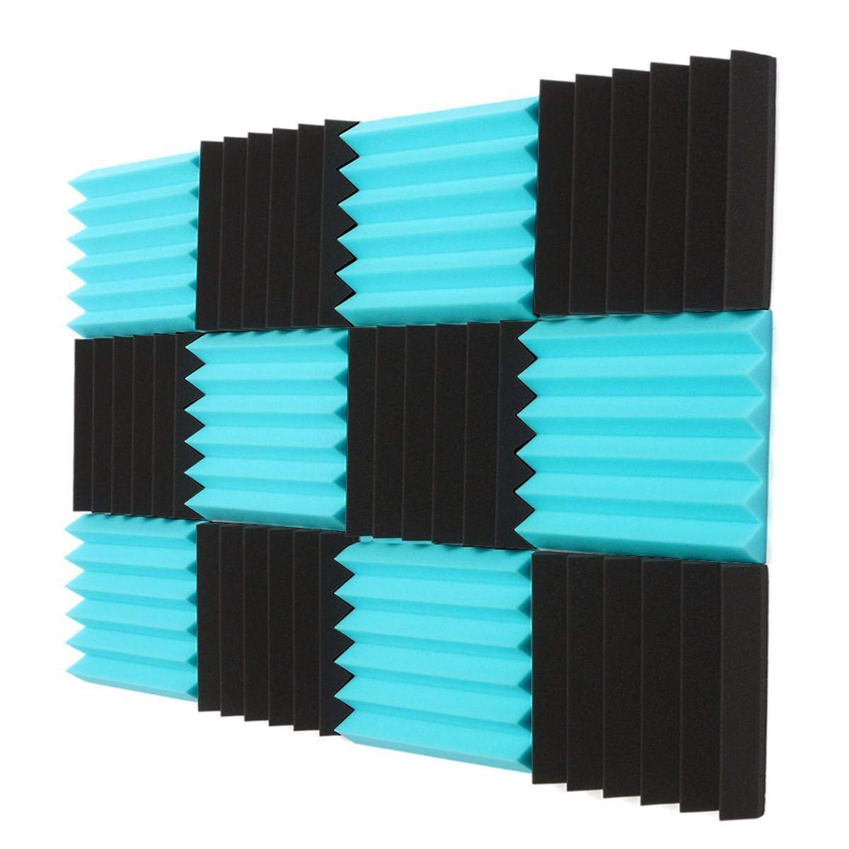 Stock_Home, Raw Materials, 12Pcs Blue/Charcoal Acoustic Wedge Soundproof Studio Foam Tiles