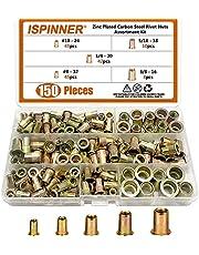 """ISPINNER 150pcs #8-32, 10-24, 1/4""""-20, 5/16""""-18, 3/8""""-16 Zinc Plated Carbon Steel UNC Rivet Nuts, Flat Head Threaded Insert Assortment Kit"""