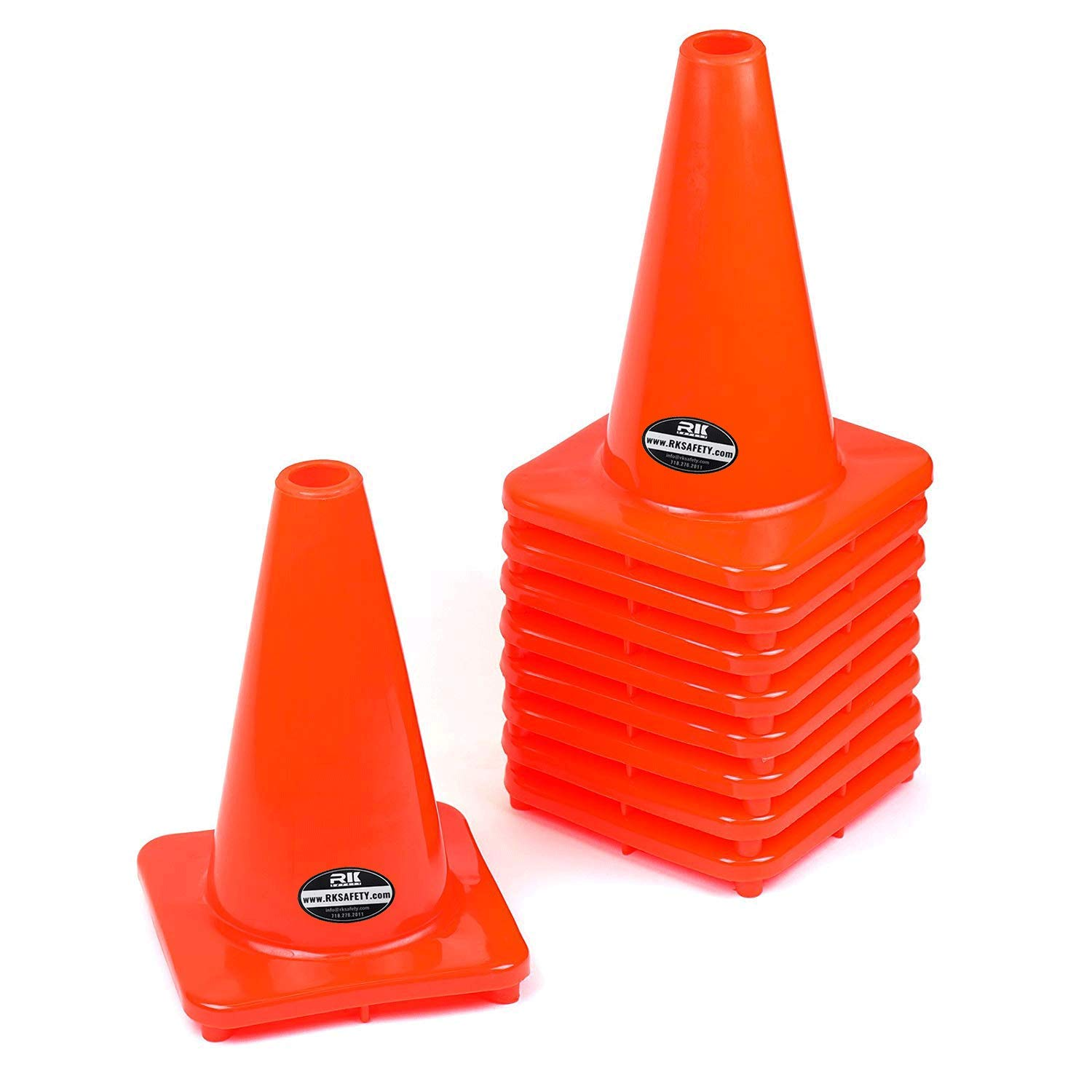 (Set of 20) RK PVC Traffic Safety Cone, Orange, 12-Inch by RK SAFETY